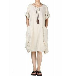 Mordenmiss Linen Lagenlook Tunic Dress Oatmeal L